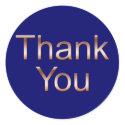 Copper on Dark Blue Thank You Stickers sticker