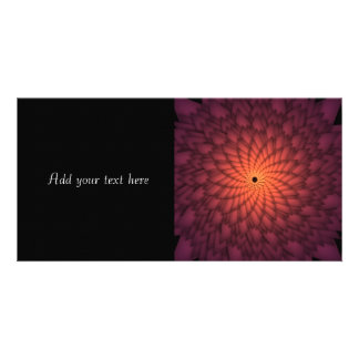 Copper Orange Abstract Flower Photo Card Template