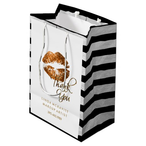 Copper Orange Glitter Lips & White Stripes Medium Gift Bag