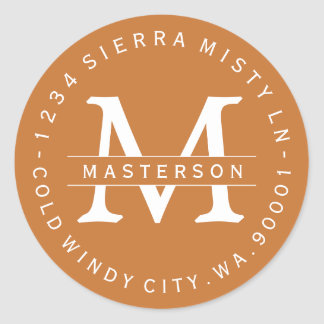 Copper Orange Monogram Circular Address Labels II