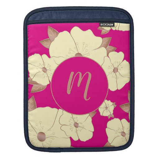 Copper Pastel Yellow Floral on Fuchsia background iPad Sleeve