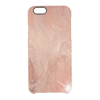 Copper Peach Rose Gold Sand Grain Swirl Metallic Clear iPhone 6/6S Case