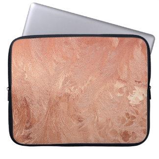 Copper Peach Texture Sand Grain Swirl Metallic Laptop Sleeve