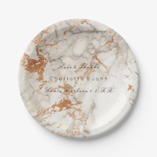 Copper Peach White Rose Gold Marble Wedding Vip Paper Plate