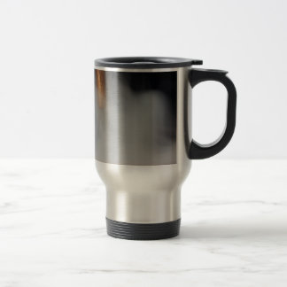 copper pipe of a distillery with steam. travel mug