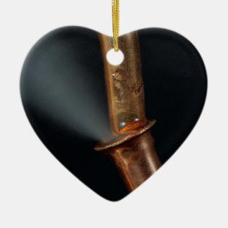 Copper pipe with steam ceramic ornament