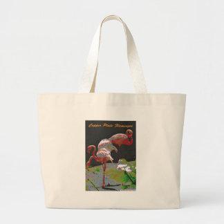 Copper Plate Flamingos Large Tote Bag