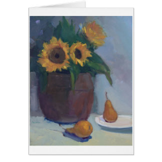 Copper Pot of Sunflowers and Pears - art note card