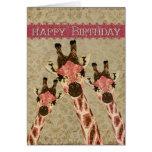 Copper & Rosa  Giraffes Happy Birthday Card