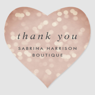 Copper Rose Bokeh Personalized Business Thank You Heart Sticker
