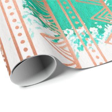 McTiffany Tiffany Aqua Copper Rose Gold Aqua Tribal Stripes White Paintin Wrapping Paper