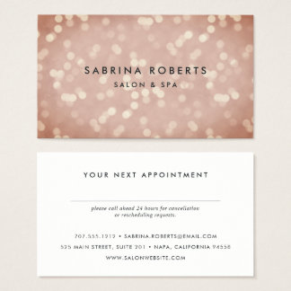 Copper Rose Gold Bokeh Appointment Card
