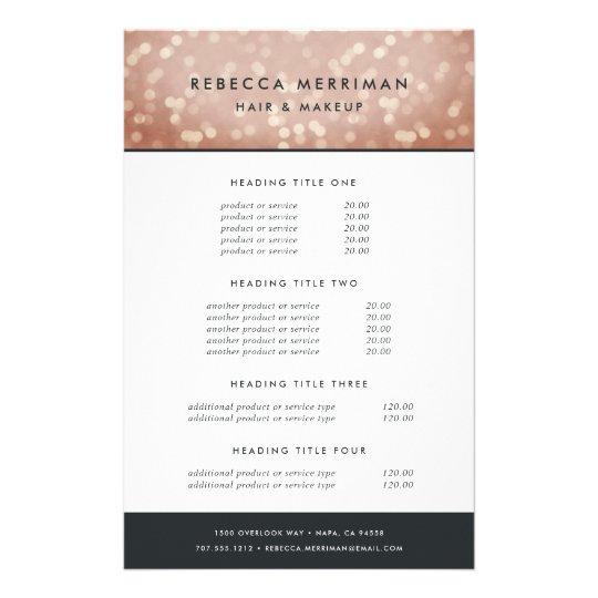 copper rose gold bokeh pricing services flyer zazzle com