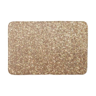 Beach Themed Copper Rose Gold Metallic Glitter Bathroom Mat