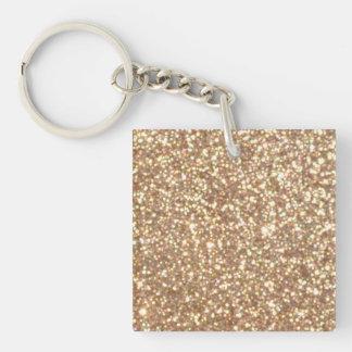 Copper Rose Gold Metallic Glitter Keychain