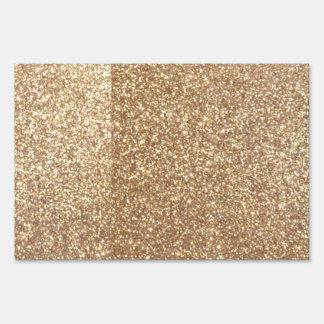 Copper Rose Gold Metallic Glitter Lawn Sign