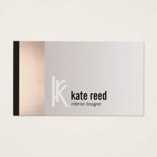 Copper Rose Gold Stripe Square Monogram Business Card