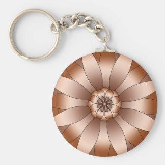 Copper Rosette Basic Round Button Keychain