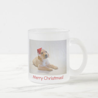 """""""Copper"""" says Merry Christmas! Frosted Glass Coffee Mug"""