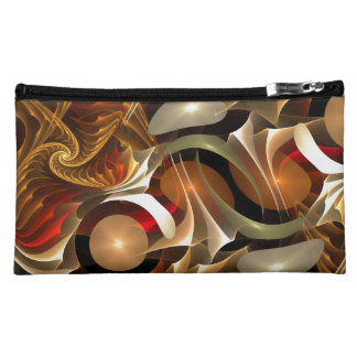 Copper Sci-Fi Abstract Art Makeup Bags