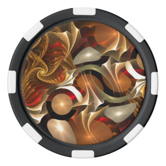 Copper Sci-Fi Abstract Art Poker Chips Set