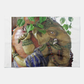 Copper Sculpture : India Vintage Elephant Ganesh Kitchen Towels