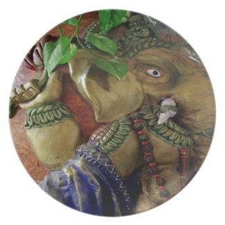 Copper Sculpture : India Vintage Elephant Ganesh Plate