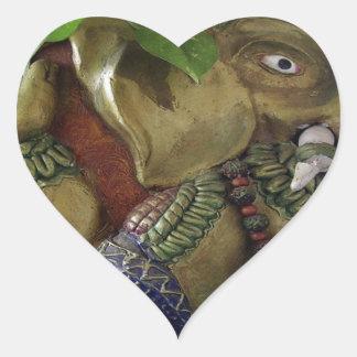 Copper Sculpture : India Vintage Elephant Ganesh Heart Stickers