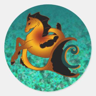 Copper Sea Horse Classic Round Sticker