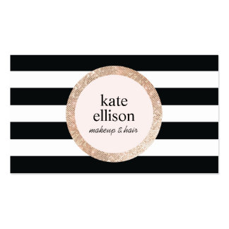 Copper Sequin Black and White Striped Beauty Double-Sided Standard Business Cards (Pack Of 100)