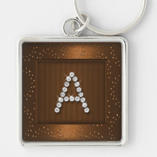 Copper Shimmer and Sparkle with Monogram Keychain