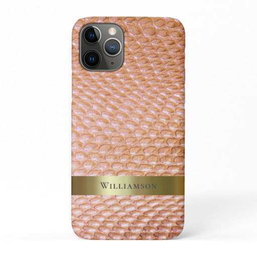 Copper Snakeskin Digital Leather Gold Metal iPhone 11 Pro Case