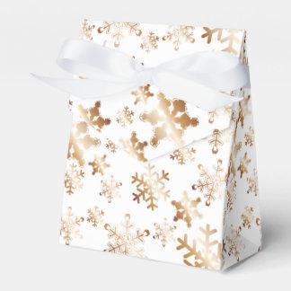 Copper Snowflakes on White Ribbon Favor Box