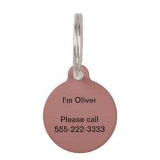 Copper Solid Color Pet ID Tag