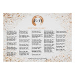 Copper Spray Wedding Seating Chart A-Z by name