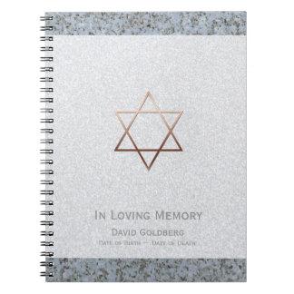 Copper Star of David 2 Funeral Memorial Guest Book