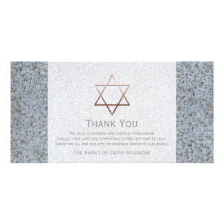 Copper Star of David Stone 4 Sympathy Thank You Card