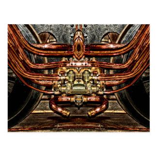 copper steam engine train - steampunk engineer postcard