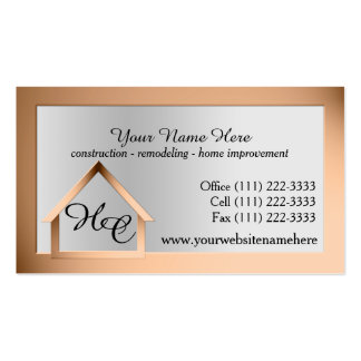 Copper Steel House Building with Monogram Double-Sided Standard Business Cards (Pack Of 100)