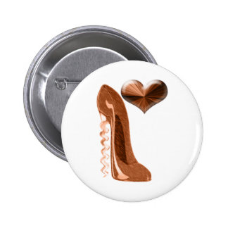 Copper Stiletto High Heel Shoe and 3D Heart 2 Inch Round Button