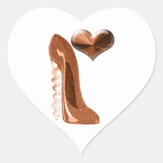 Copper Stiletto High Heel Shoe and 3D Heart Heart Sticker
