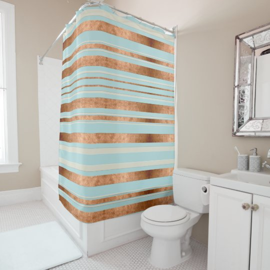 Copper Stripe Robins Egg Blue Shower Curtain