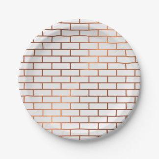 Copper Subway Tile Pattern Paper Plates