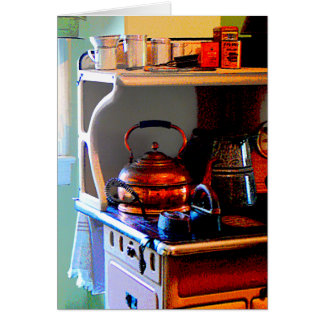 Copper Tea Kettle on Stove Card
