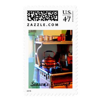 Copper Tea Kettle on Stove Postage Stamp