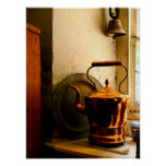Copper Tea Kettle on Windowsil Poster