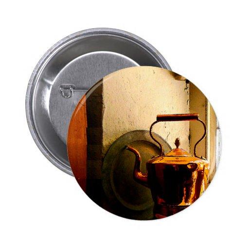 Copper Tea Kettle on Windowsill 2 Inch Round Button