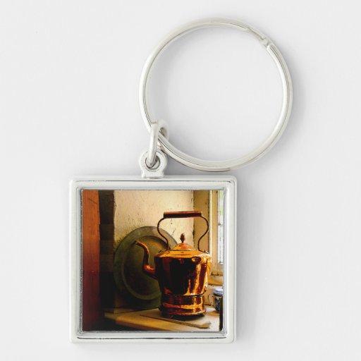 Copper Tea Kettle on Windowsill Silver-Colored Square Keychain