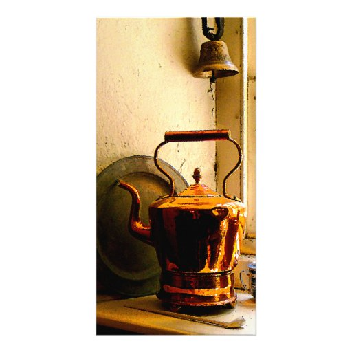 Copper Tea Kettle on Windowsill Photo Cards