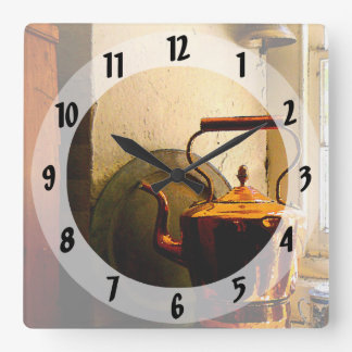 Copper Tea Kettle on Windowsill Square Wall Clock
